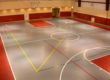 Versacourt court tile installation play on courts for Indoor basketball court installation